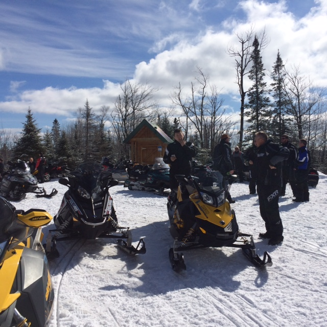 The John A Brandt Memorial Shelter on the Yukon was a busy place today with more sleds than we have ever seen up there at any one time, including a group making a two day trip from Duluth to Ely and back.