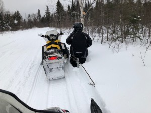 Getting off your sled on the wrong side of the trail